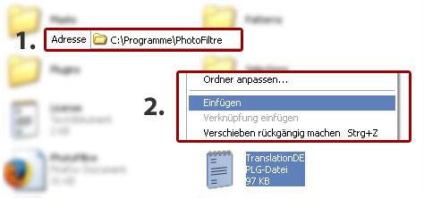Photofiltre Deutsche Sprachdatei Einfügen